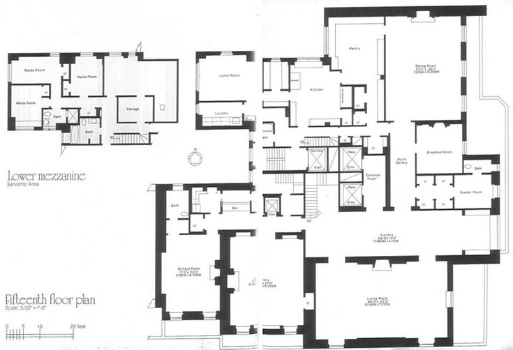 740 Park Avenue, NY, 1921 - Rosario Candela.  The Rockerfeller Apartment, lower floor plan.  The apartment measures about 20k square feet, I think.