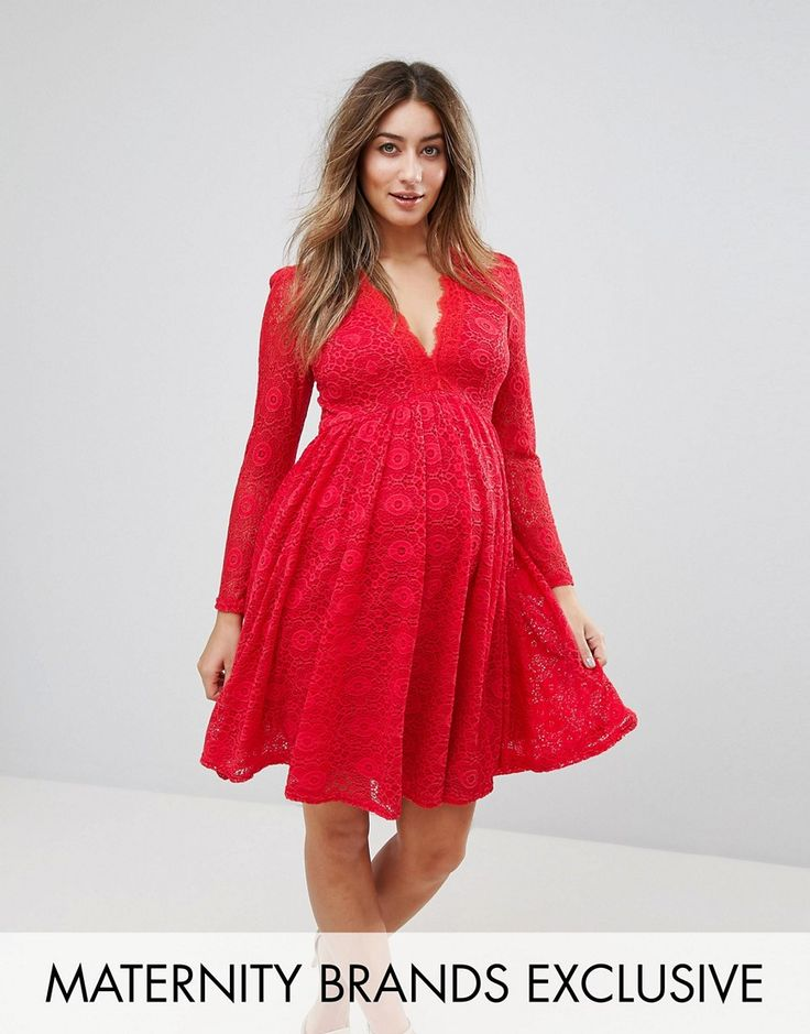 Get this Queen Bee's skater dress now! Click for more details. Worldwide shipping. Queen Bee Allover Geo Lace Full Prom Skater Dress With Plunge Front - Red: Maternity dress by Queen Bee, Semi-sheer lace, Partially lined, Eyelash v-neck, Zip-back fastening, Close-cut bodycon fit, Designed to fit through all stages of pregnancy, Hand wash, 100% Polyester, Our model wears a UK 8/EU 36/US 4 and is 169cm/5'6.5 tall. London label Queen Bee turns catwalk styles and red-carpet looks into a…