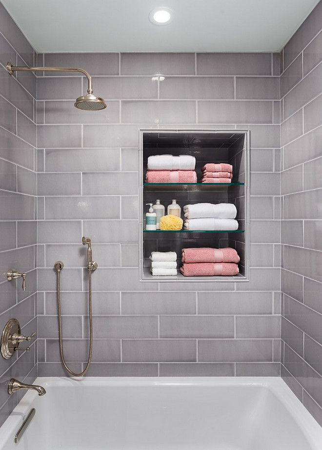 6 x 18 tile. The tile used in this bathroom was Jeffrey Court Breakwater Tile…