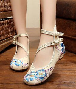 AvaCostume Womens Embroidery Rubber Sole Summer Wedges Sandals Fashion Dress Shoes for Cheongsam, Beige, 34