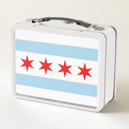 Metal Stainless Lunchbox with flag of Chicago - metallic style stylish great personalize