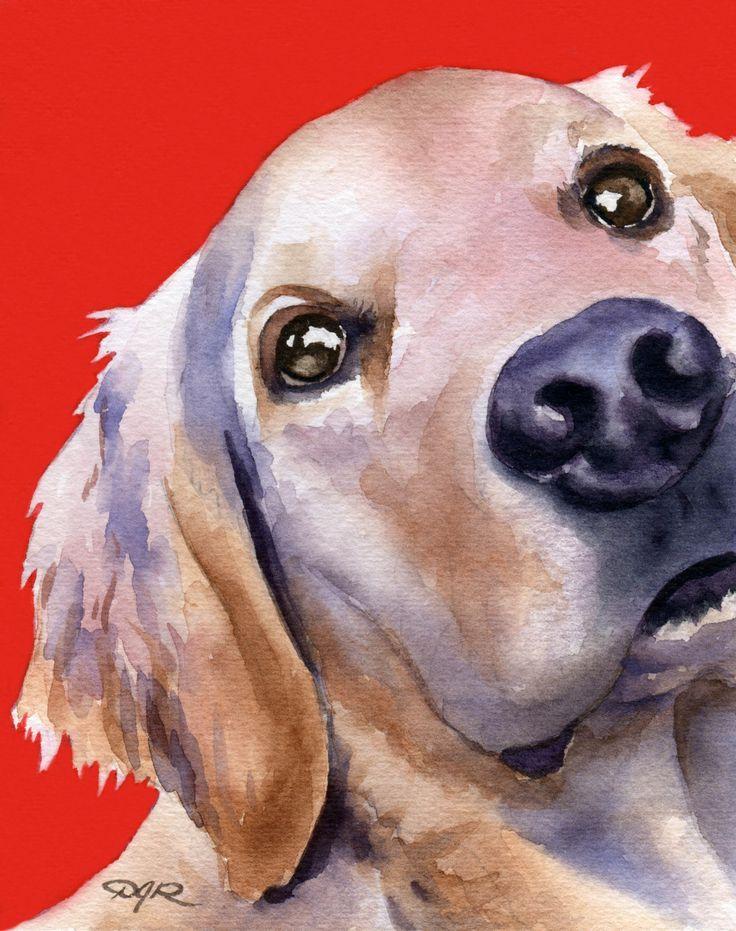 GOLDEN RETRIEVER Dog Art Print Signed by Artist DJ Rogers. $12.50, via Etsy.