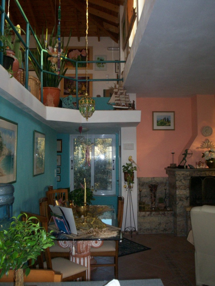 My colorful Greek home.  Upstairs art studio.