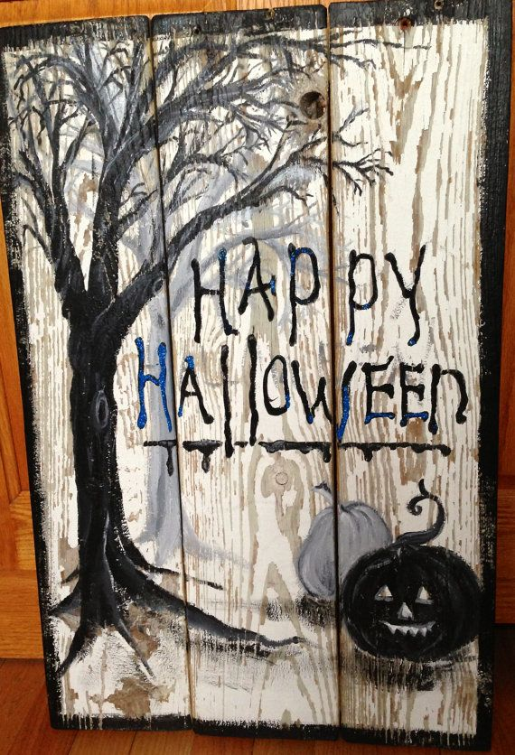 Best 25 halloween pallet signs ideas on pinterest for Wood craft painting ideas
