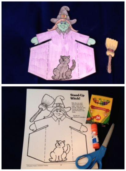 Students color, cut out, and fold this witch pattern.  #ClassroomCrafts #HalloweenCrafts #HalloweenCutout