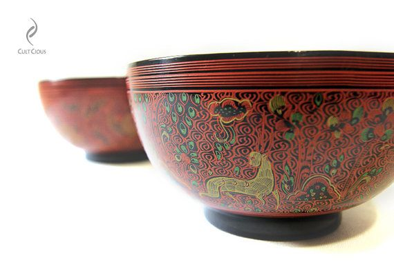 Myanmar Folk Art Hand Painted Lacquerware Bowl by CultCious www.visitmm.com