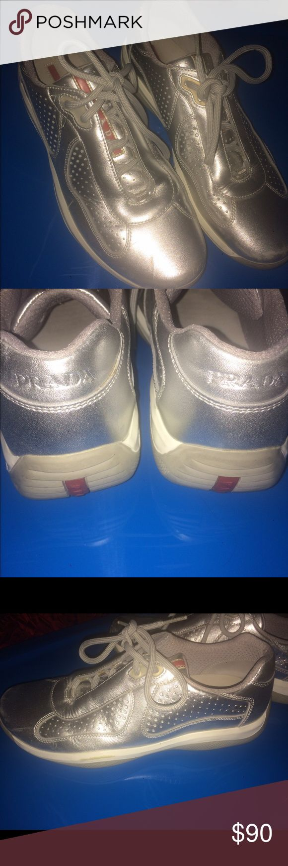 Men's Prada sneakers size 8 Men's Prada Sneakers silver size 8 Prada Shoes Sneakers