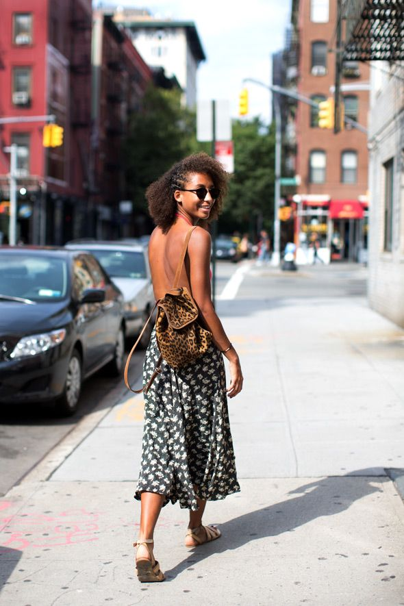 On the Street….Thompson St., New YorkSummer Looks, Backless Dresses, Backless Top, Natural Hair, Leopards Prints, Street Style Fashion, The Sartorialist, New York, Nature Hair