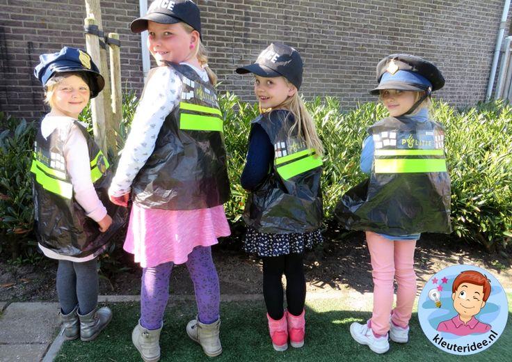 Politiehes knutselen met kleuters 3, kleuteridee.nl, met gratis download, Kindergarten police theme,