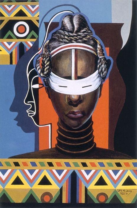 Lois Mailou Jones (1905-1998): Initiation-Liberia. 1983, acrylic on canvas