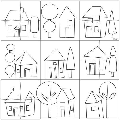 huizen; geef elkaar opdrachten om te kleuren, in goede zinnen natuurlijk