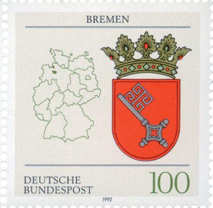 Alemania, 1992 Ubicación y escudos de armas de los estados de la República Federal Alemana: Berlín, Brandeburgo, Bremen y Hamburgo.