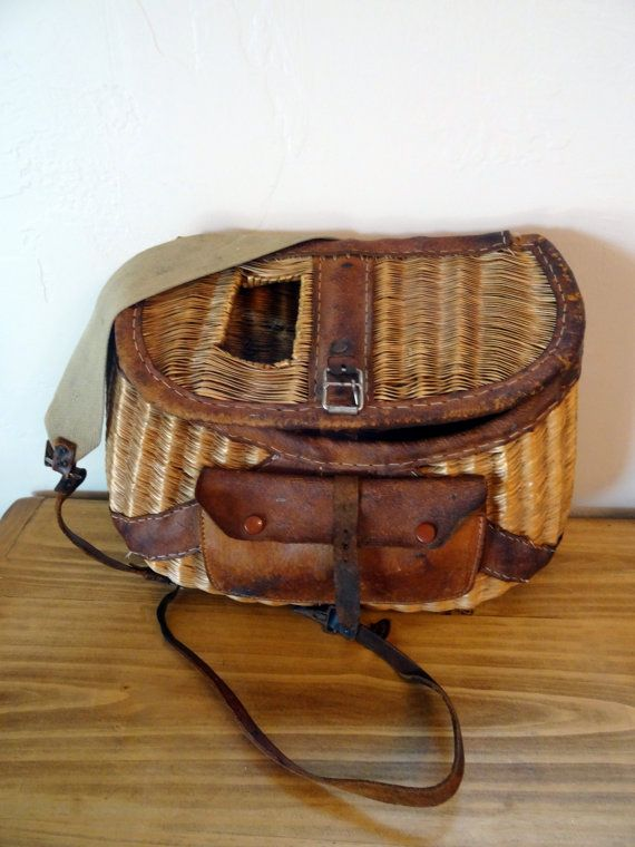 Vintage fishing creel basket wicker leather bound and for Fly fishing creel
