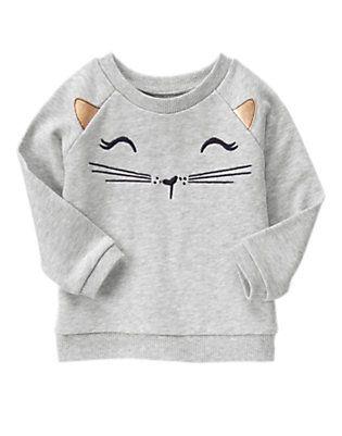 Toddler Girl Halloween Sweater, grey pullover cat Gymboree