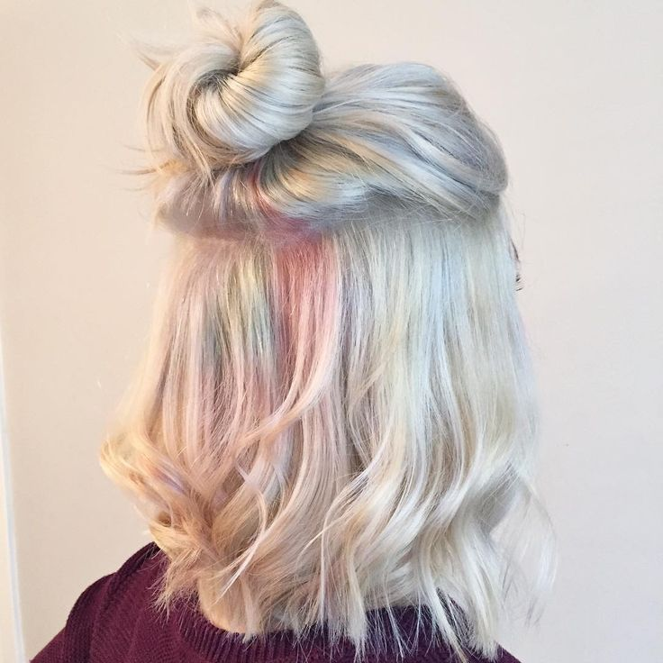 Opal hair. Beautiful pastel dyed hair mimicking gemstone opal. Perfect for every blonde who wishes something new.