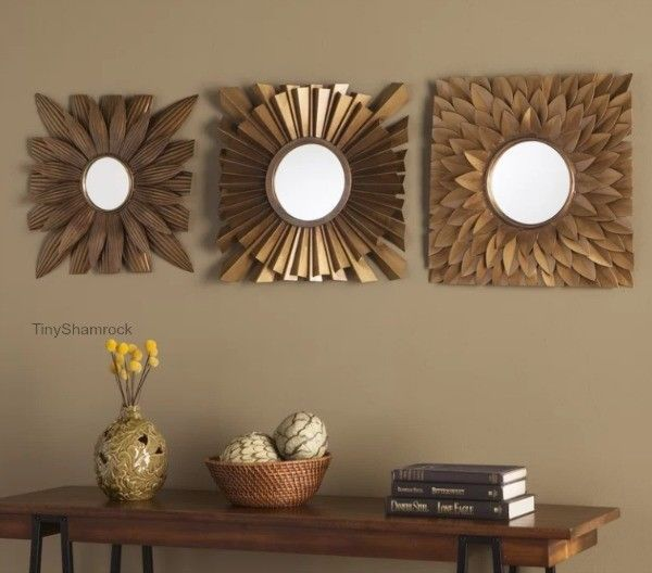 Decorative Wall Mirrors Abstract Floral Burst Glam Antiqued Gold 3 ...