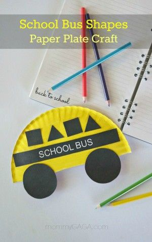 Back to School Crafts for Kids- School Bus Shapes Paper Plate Craft