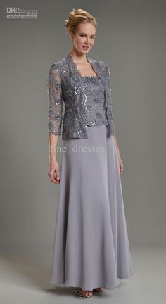 2013 fashion column chiffon floor length mother of the bride with jacket long sl…