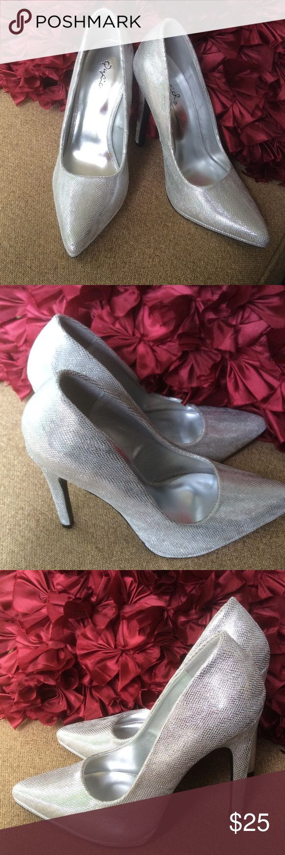 """⏰SALEGorgeous silver pumpsProm?  Wedding? New (no tags)...some faint writing on bottom of left shoe from the store(pic 4)...perfect for weddings, prom, special occasions...5"""" heel...closet kept Qupid Shoes Heels"""
