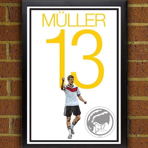 Thomas Müller 13 Deutschland Fußballspieler – Fußball Poster 8×10, 13×19, Druck, …