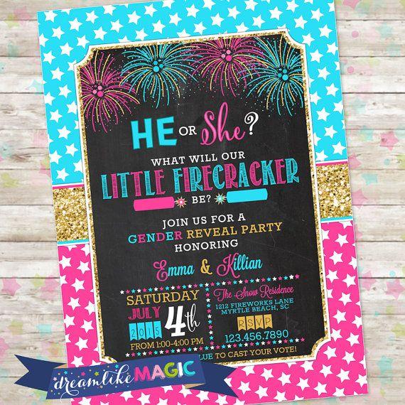 Fourth of July Gender Reveal, Summer Gender Reveal, New Year Gender Reveal, Firecracker Gender Reveal Invitation, Printable, Girl or Boy