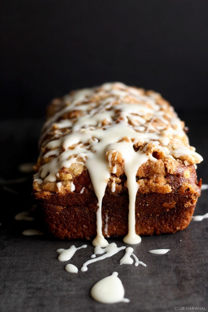 pumpkin streusel bread with maple glaze