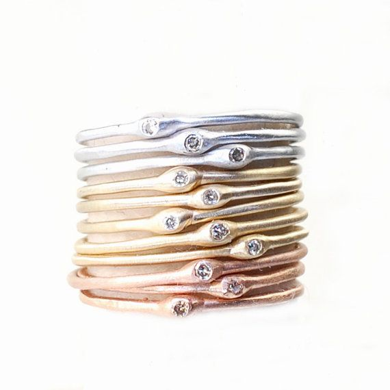 Stacking Rings Diamond Ring Engagement Ring Stacking Gold by NIXIN (maybe for every year of marriage)
