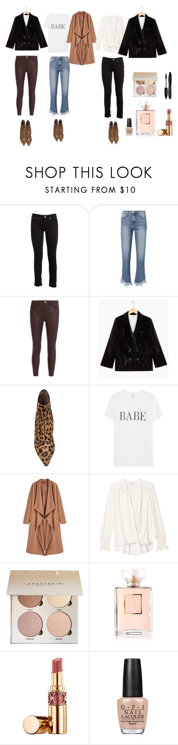 """""""fashionset"""" by mgomenuyk on Polyvore featuring мода, Dondup, Frame, L'Agence, Tabitha Simmons, Rebecca Taylor, Yves Saint Laurent, OPI и Lancôme"""