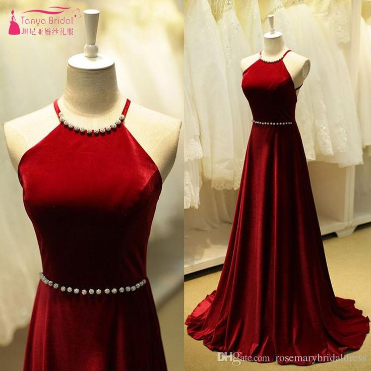 Dark Red A Line Simple Halter Sexy Backless Pearls Prom Dresses Evening Dresses Vestidos De Festa Cheap Gowns Strapless Prom Dress Tulle Prom Dress From Rosemarybridaldress, $119.6| Dhgate.Com