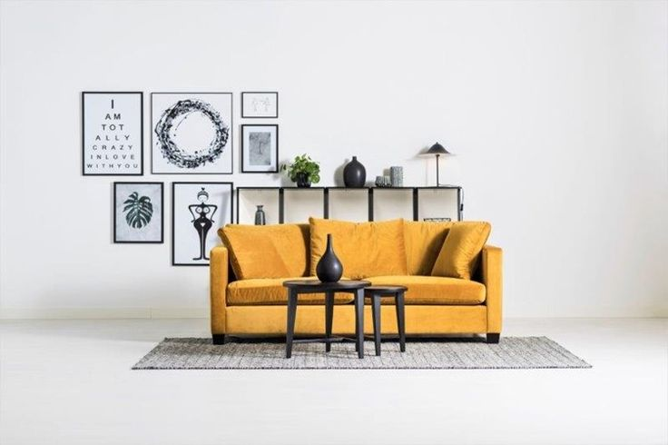 Happy gul soffa - .I tyg Seven yellow - Svenska Hem #Happy #soffa