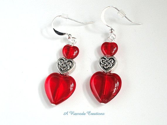 Red Heart Earrings / Valentine Heart Earrings by ARexrodeCreations