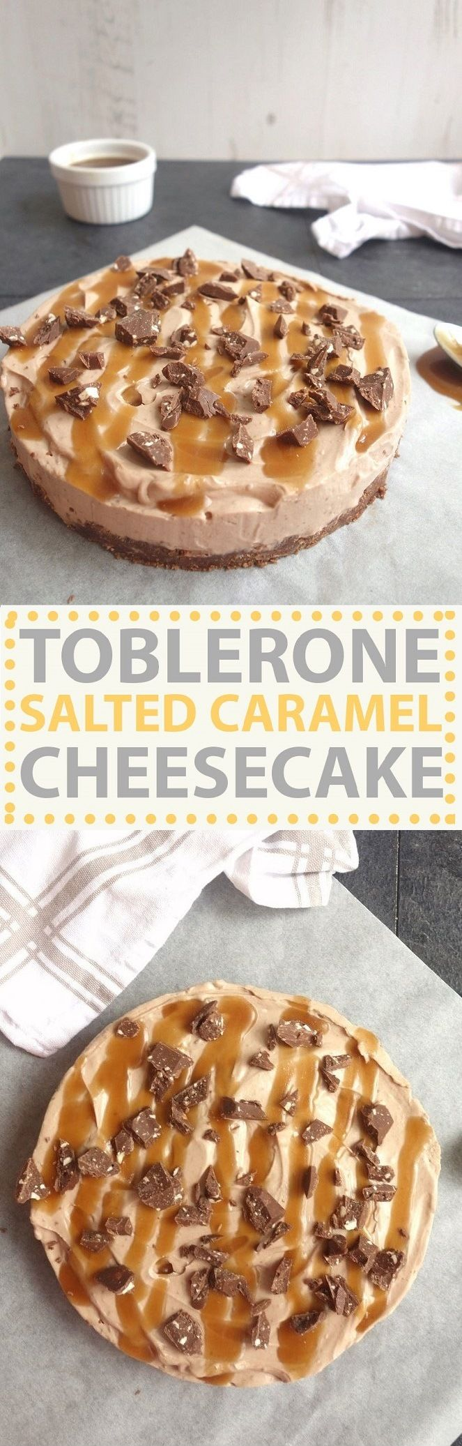 A super easy no bake cheesecake, drizzled with salted caramel sauce! #TheBeautyAddict