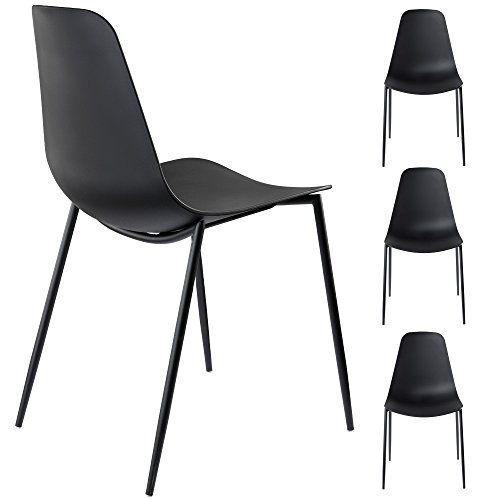 Alessia Set of 4 Black Dining Chairs – Mid Century Modern Style Armless Side Chairs Molded Easy Clean Plastic Shell with Steel Legs by Linea di Liara LL-CH1661-BLACK