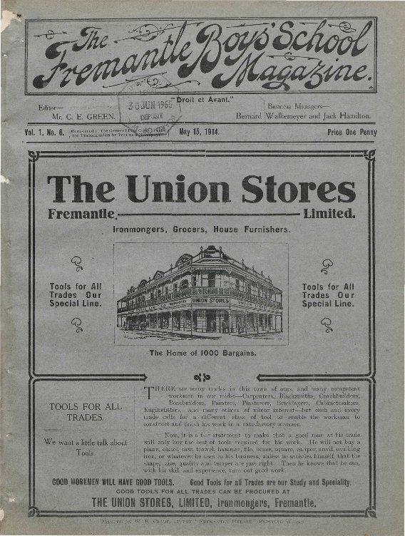 Fremantle Boys' School magazine, 1914. https://encore.slwa.wa.gov.au/iii/encore/record/C__Rb1845333