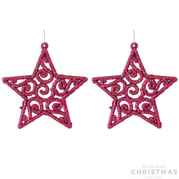 Set of 2 elegant shatterproof Christmas stars, 10,2cm. The Christmas stars are fuchsia with glitter and equipped with a hanging cord. Made of unbreakable plastic. Can be perfectly combined with all our other glitter ornaments.