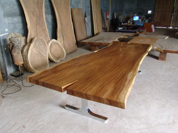 Dining Table Reclaimed Solid Slab Acacia Wood 10 To 12 Seater Chrome Dipped  Legs Extremely Rare