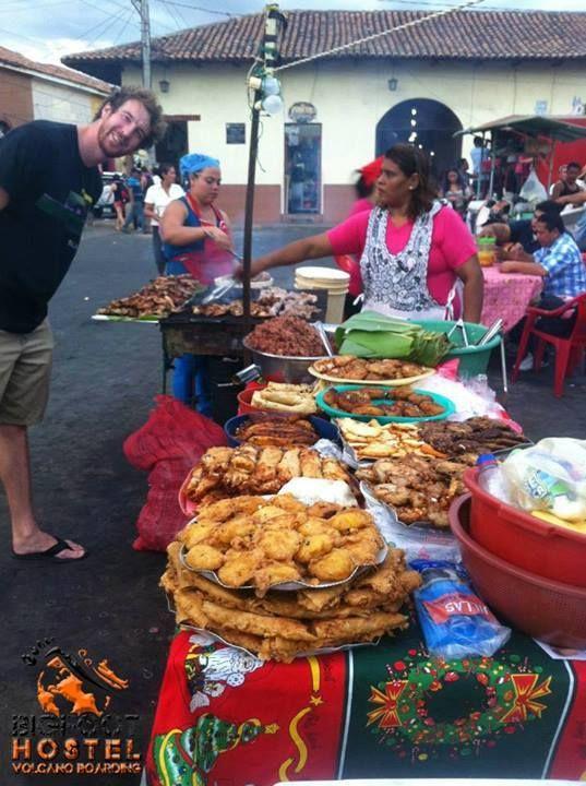 Traditional Nicaraguan food items - gallo pinto, fritangas, vigoron, platano, maduro frito, empanadas de queso, enchiladas, pollo asado, carne asado, tortas de papas, etc. Photo from Bigfoot Hostel and Volcano Boarding, Leon, #Nicaragua