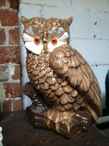 Large 1970s Pottery Owl Lamp Silverlake Style