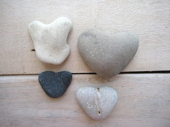 4pcs Stone Hearts Heart Shaped Stones Heart by CreteDriftwood