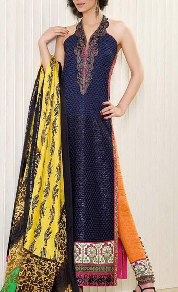 Buy Navy Blue Embroidered Luxury Lawn Dress by Asim Jofa Luxury Lawn Collection 2015