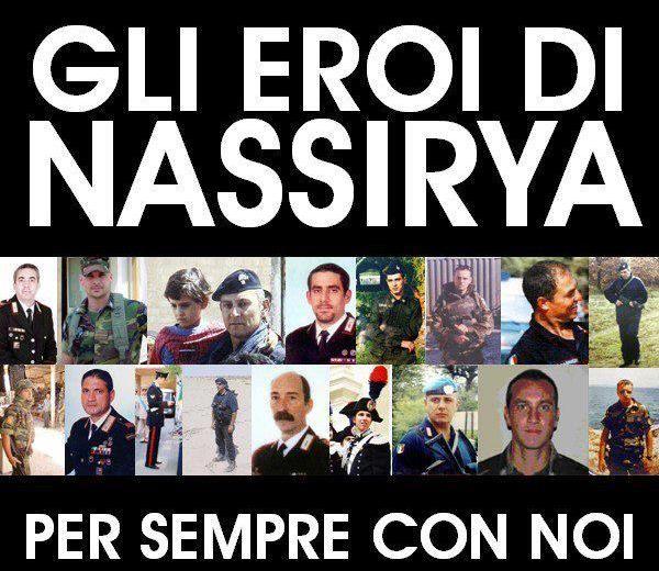 """I 19 italiani morti a Nassiriya , furono vittime di una """"inaccettabile e vile barbarie"""" e sono il simbolo di un paese che """"crede nella necessità di uno sfo"""
