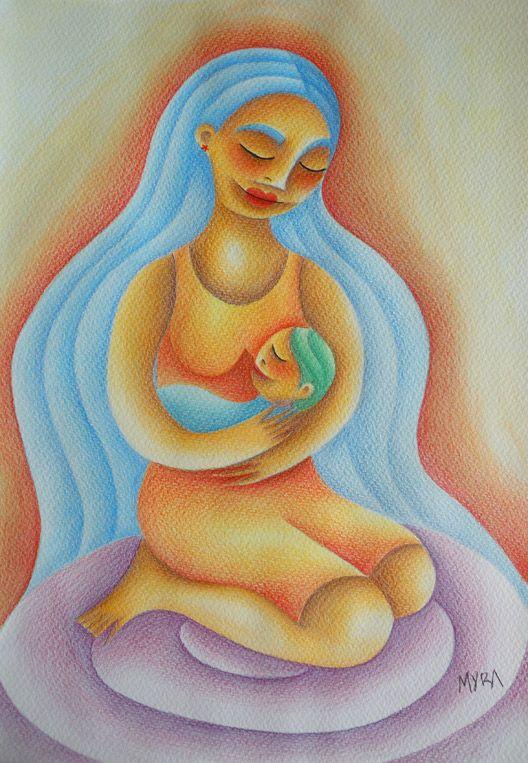 Madre e hijo. Acuarela y lápices de color. Conéctate con tus emociones y sentimientos a través del arte.   Connect with your emotions and feelings through art. #ilustración #arte #art