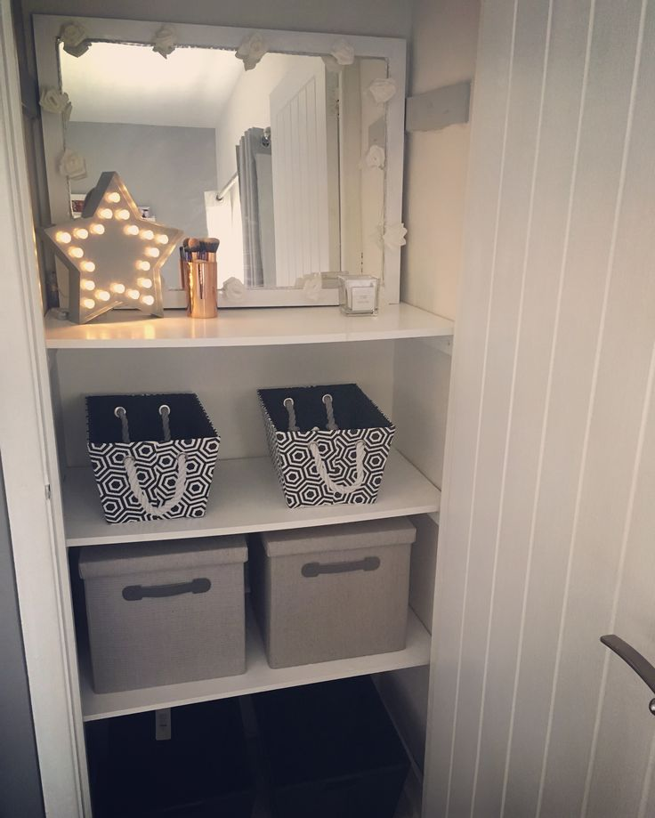 My space For getting ready and storing all my stuff. Light from primark and storage from Matalan mirror from next