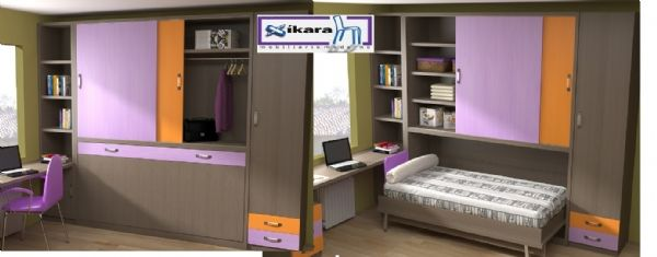 cama abatible con puerta corredera 17 - Cama plegable horizontal