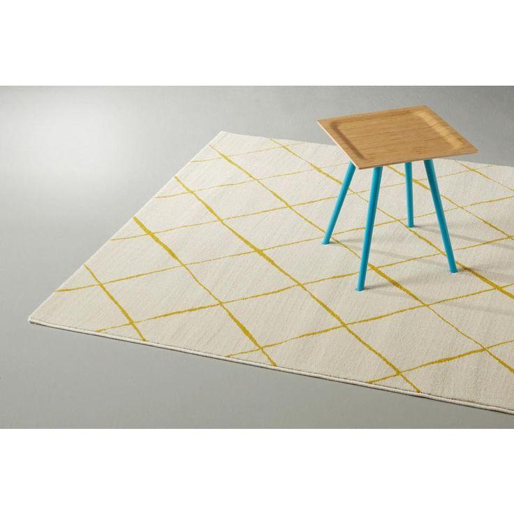 Vloerkleed  (160x230 cm), Wit/geel