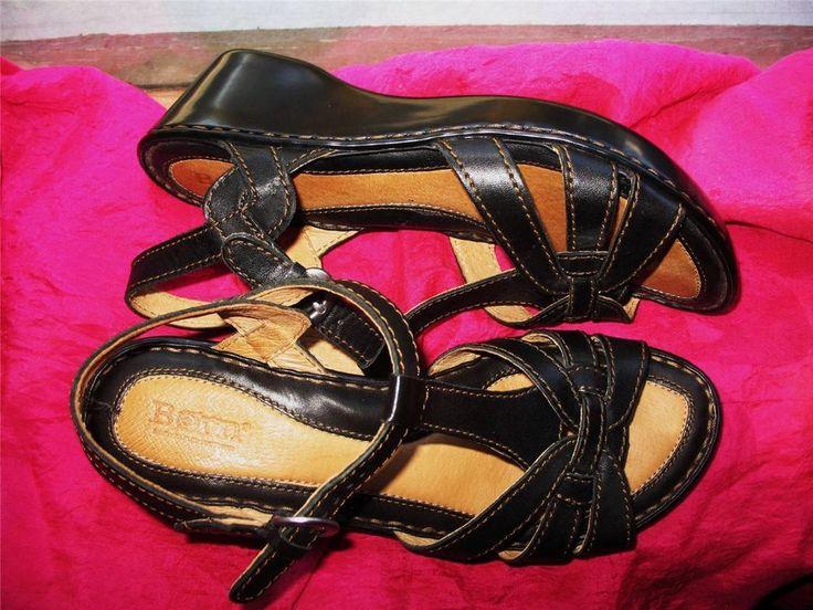 BORN SHOES BROWN CHOCOLATE LEATHER  WEDGE SANDALS  ! SIZE 8W /39 ! #Born #PlatformsWedges