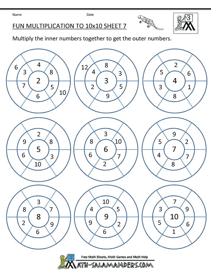 Fun multiplication worksheets math pinterest for Table multiplication 3
