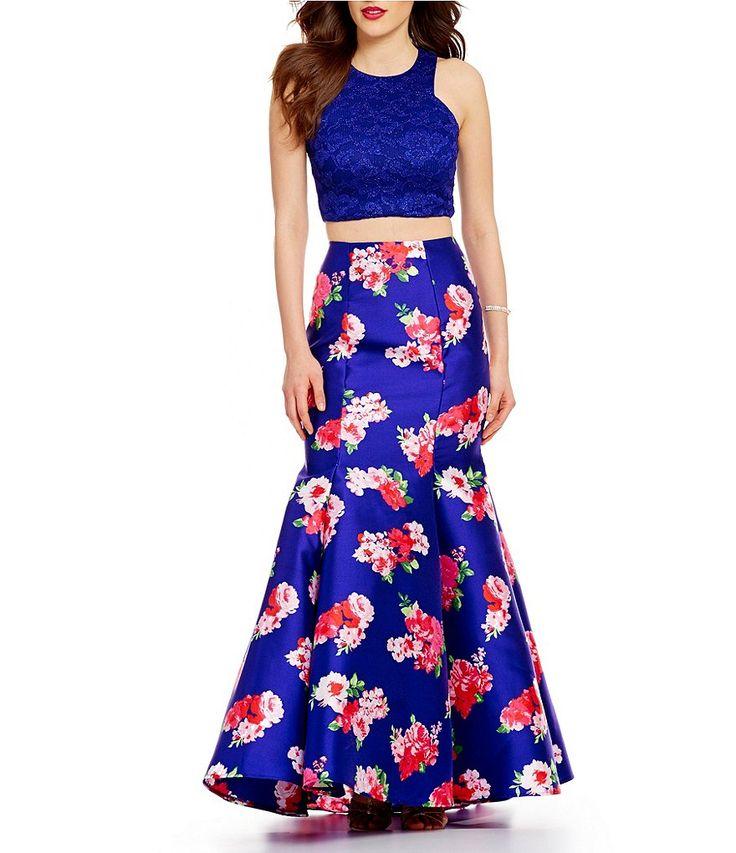 B. Darlin Glitter Lace Top Floral Print Skirt Two-Piece Trumpet Dress
