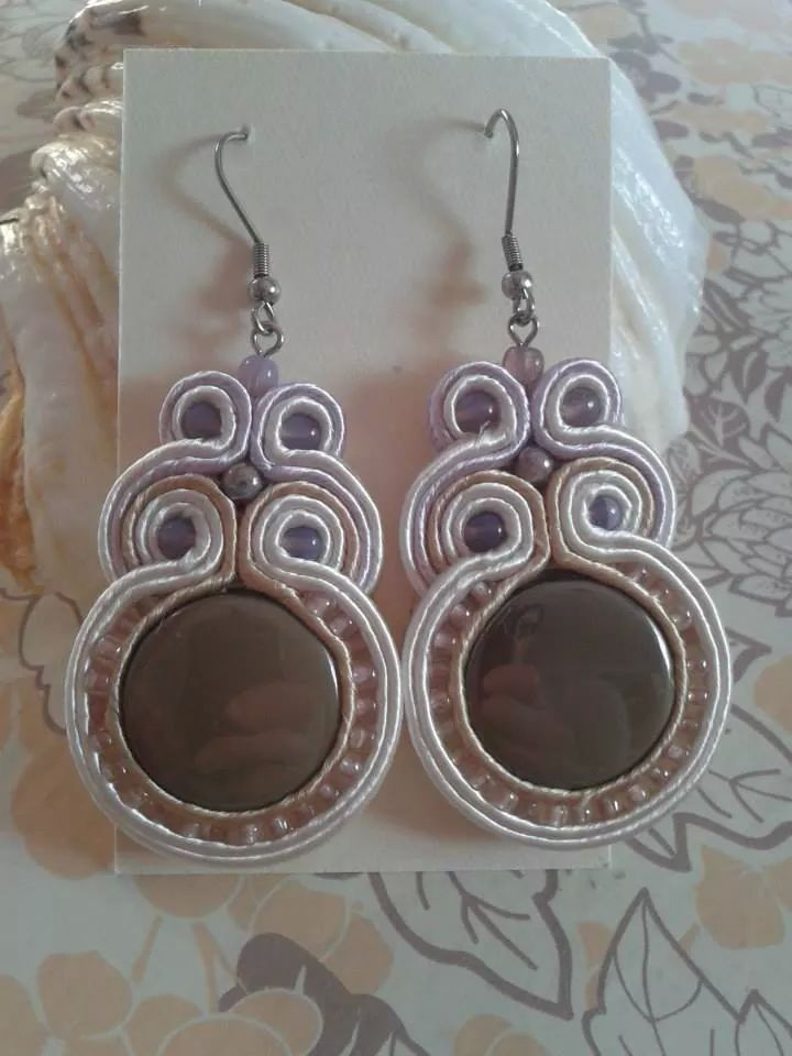 Soutache long beige earrings