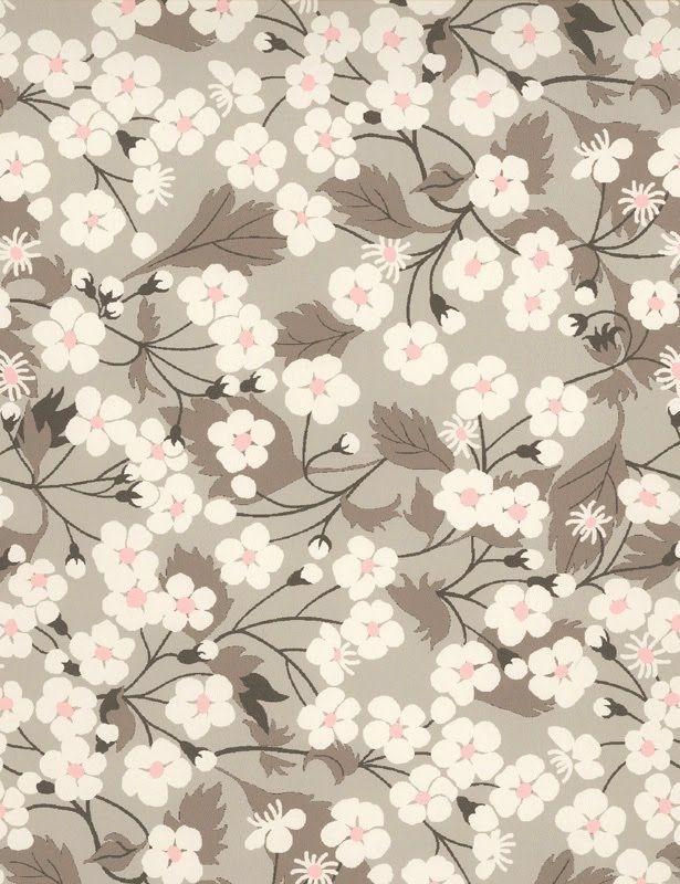 coupon tissu motif LIBERTY gris clair mitsi rose